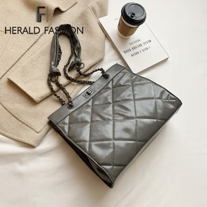 Elegant Female Plaid Tote bag 2021 Fashion New High quality PU Leather Women's Designer Handbag Chain Shoulder Messenger Bag