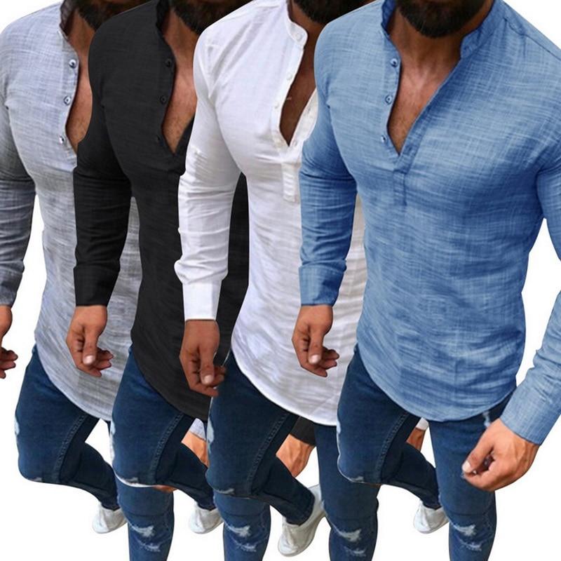 2019 Sexy Männer der Hemd Lange Ärmeln V Neck Bluse Sommer Mode Casual Slim Fit Tees Tops Männlich Atmungsaktive Leinen shirts