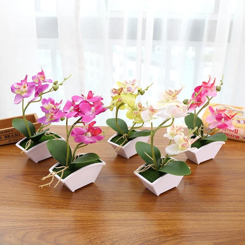 Multi-color orquídea mariposa artificiales falsas hojas verdes con flores plantas con maceta decoración para el hogar