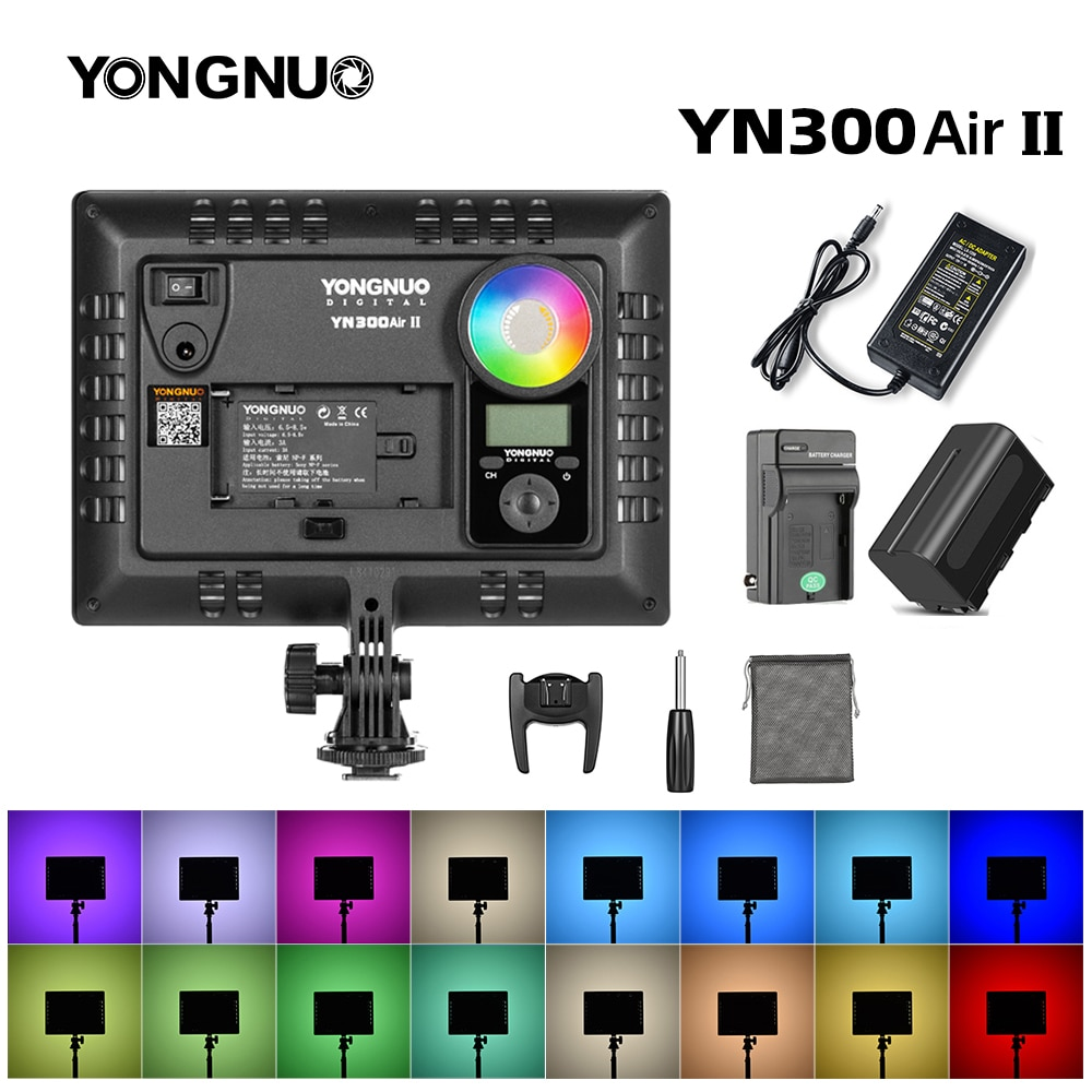 YONGNUO YN300AIR II RGB LED Kamera Video Licht, Optional Batterie mit Ladegerät Kit Fotografie Licht + AC adapter