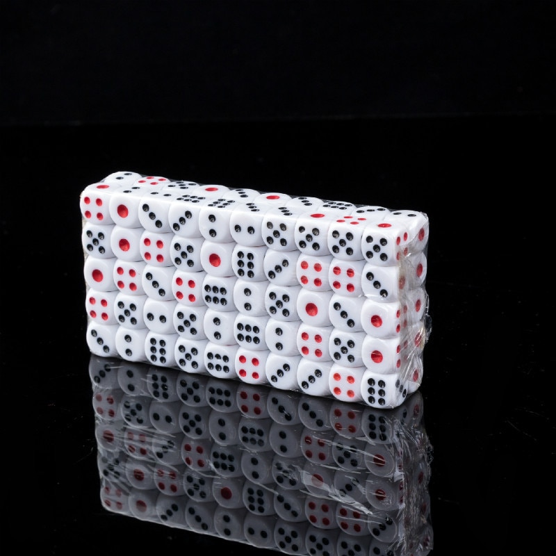 Wholesale 100/200/500 Pcs/Lot White Dice Set Acrylic Point Drinking Dice 12mm Round Corner Hexahedron Dice Black Red Point Games