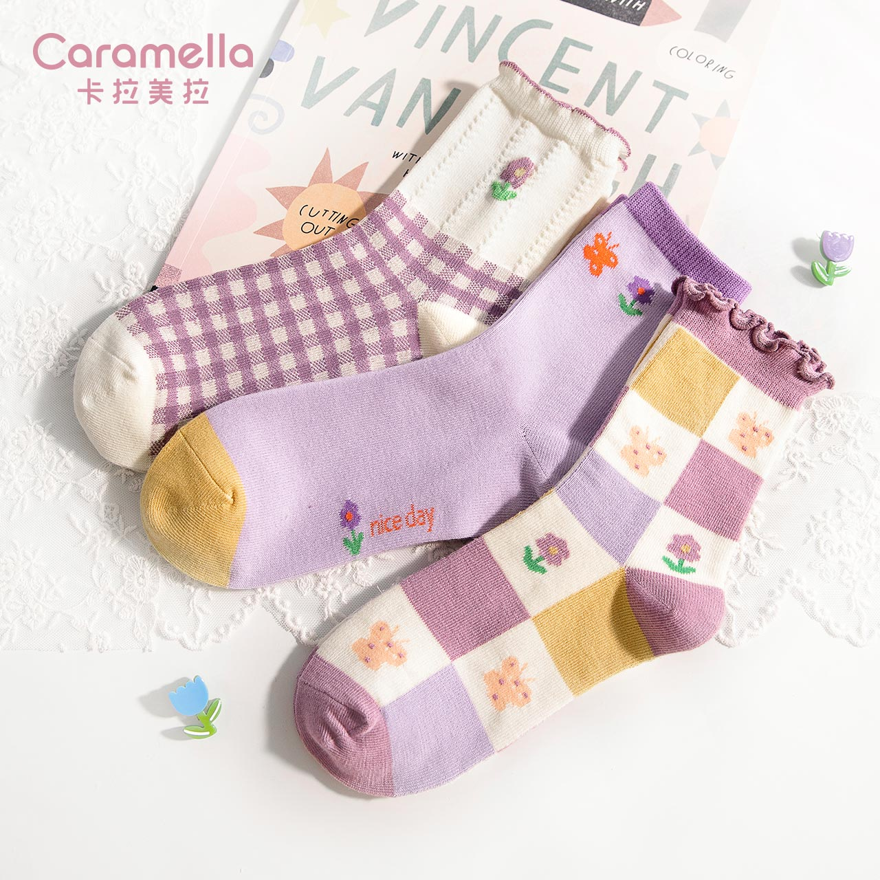 2021 Caramella New Pattern Women Socks 3pairs/lot Spring Summer Cotton Funny Cartoon Squirrel Lace Flower