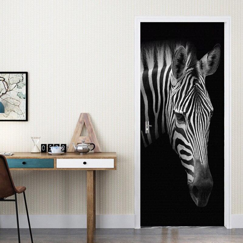 DIY 3D Deur Sticker PVC zelfklevende Zwart Wit Zebra Foto Behang Dier Decal Woonkamer Slaapkamer Deur Thuis decor Sticker