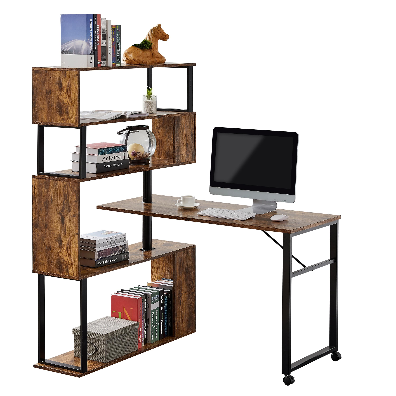 Офис компьютерный стол l-образный угловой стол, вращающийся компьютерный стол с 5-этажный в виде книжной обложки, четыре Установка методы, ...