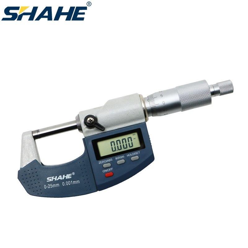 SHAHE 0-25 مللي متر ميكرومتر رقمي 0.001 مللي متر إليكترونيميكرومتر أدوات قياس رقمية