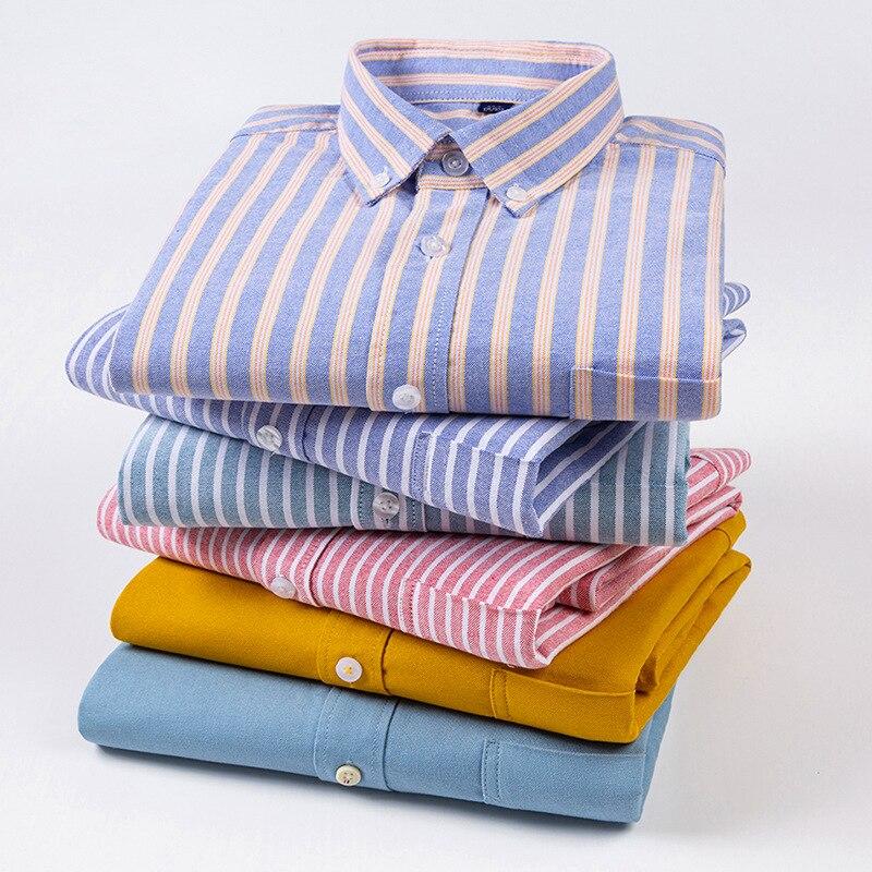 Высокое качество 100% хлопок мужские рубашки в полоску с длинными рукавами и карманами платье рубашки мужские костюмы брендовая S-4XL 2021NEW; Сезо...