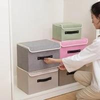 foldable storage box bin with lid toys organizer food clothes scarf socks stockpile cotton and hemp basket
