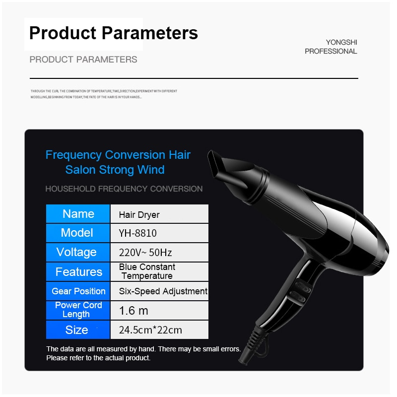 Professional Household High-Power Negative Ion Constant Temperature Heating And Cooling Air Hair Dryer with Diffuser Curly Hair enlarge