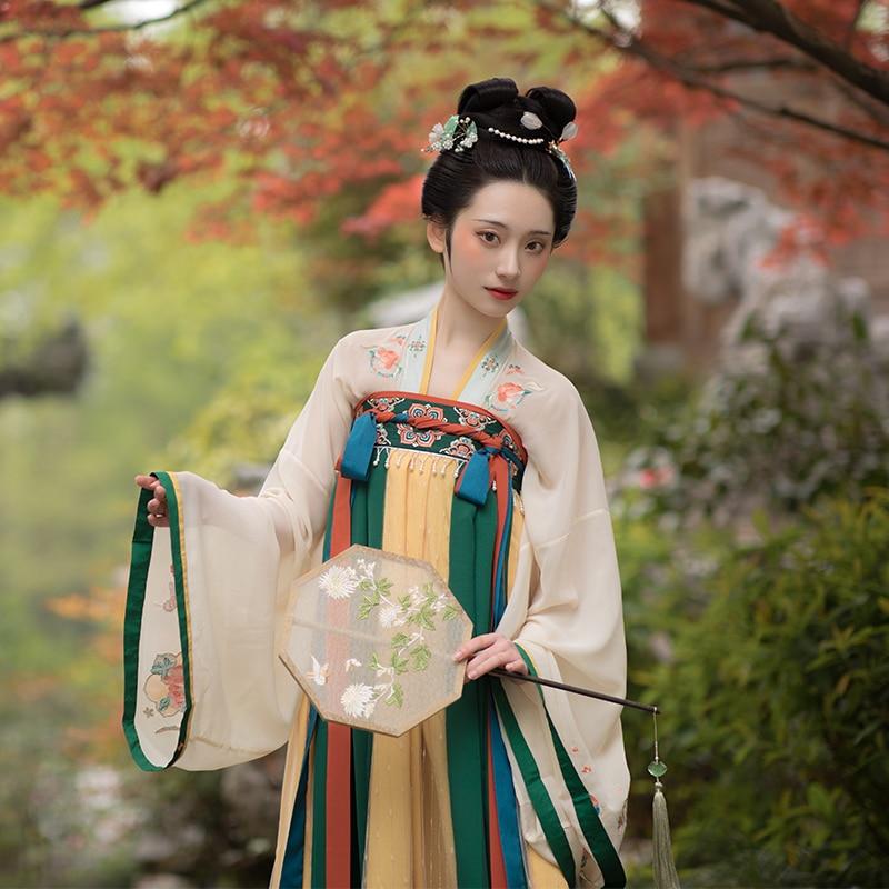 الصينية القديمة التقليدية Hanfu الجنية تأثيري حلي تانغ سلالة دعوى النساء فستان حفلة للأميرات الرقص الشعبي وتتسابق DWY3925
