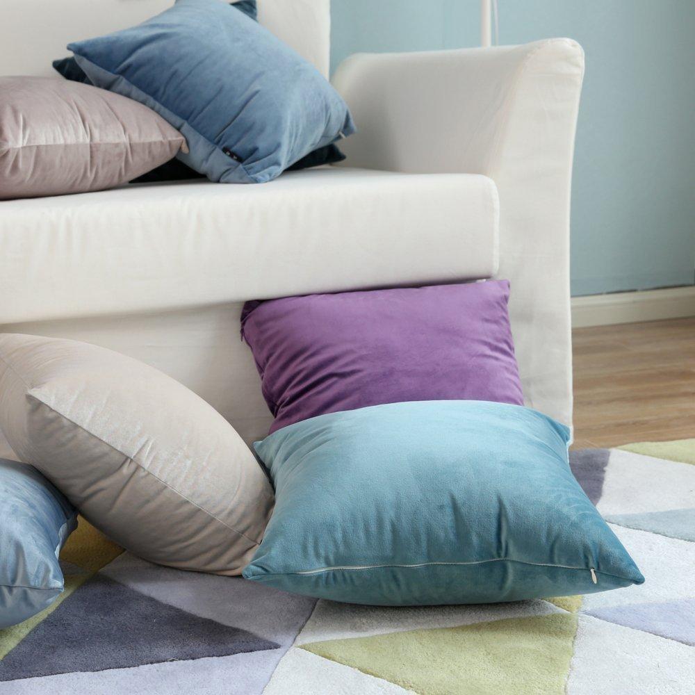 Cubierta de cojín liso colorida de terciopelo suave de 18 pulgadas, fundas de cojín para sofá o coche, fundas de almohada para cama o sofá de 45x45cm