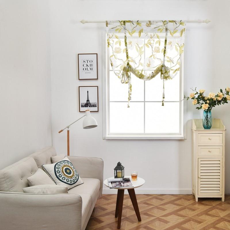 Nuevas cortinas para cocina, cortinas transparentes con estampado Floral y árbol para cocina, bolsillos y varillas, cortinas de tul para cocina y balcón