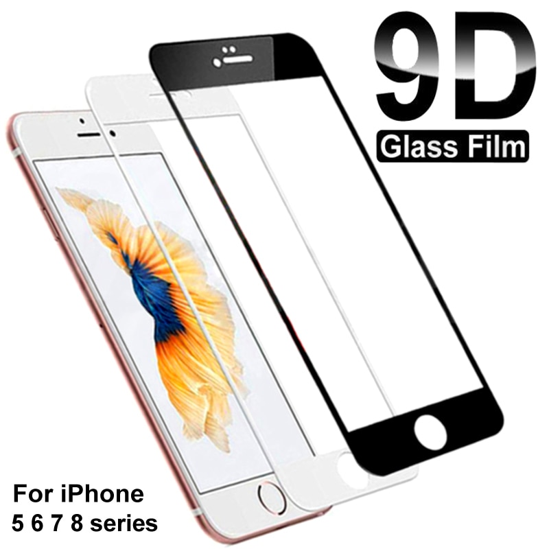 9D Full Glue Tempered Glass For iPhone 7 8 6 6S Plus Glass Screen Protector On iPhone 5 5C 5S SE 202
