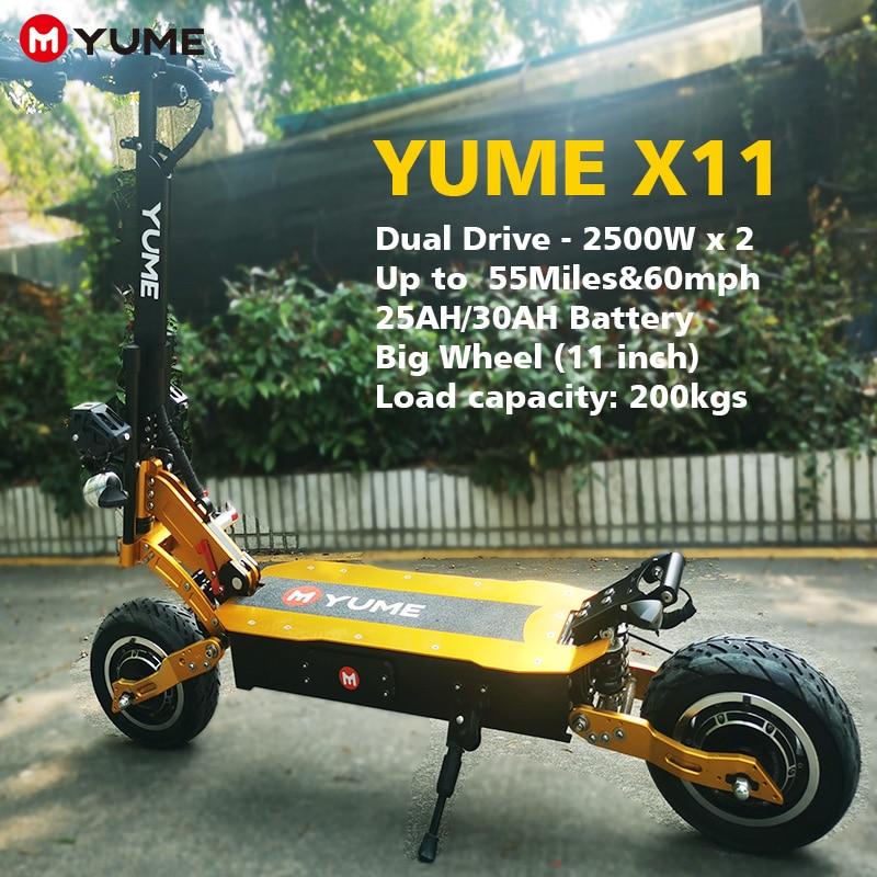 YUME 2021new قوية 60 فولت 5000 واط المزدوج المحرك 11 بوصة الدهون الإطارات سكوتر كهربائي طوي 2 عجلات e سكوتر الذهبي للكبار