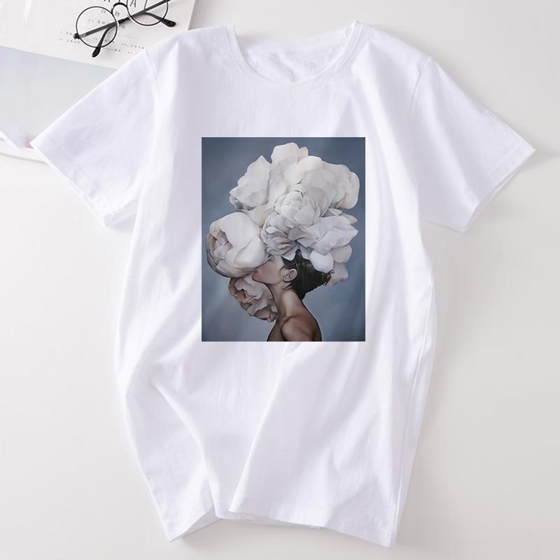 Female T-shirt Harajuku Aesthetic Feather Flowers Printing Fashion Women's T Shirt Short Sleeve Tee Shirt Casual Women's T-shirt