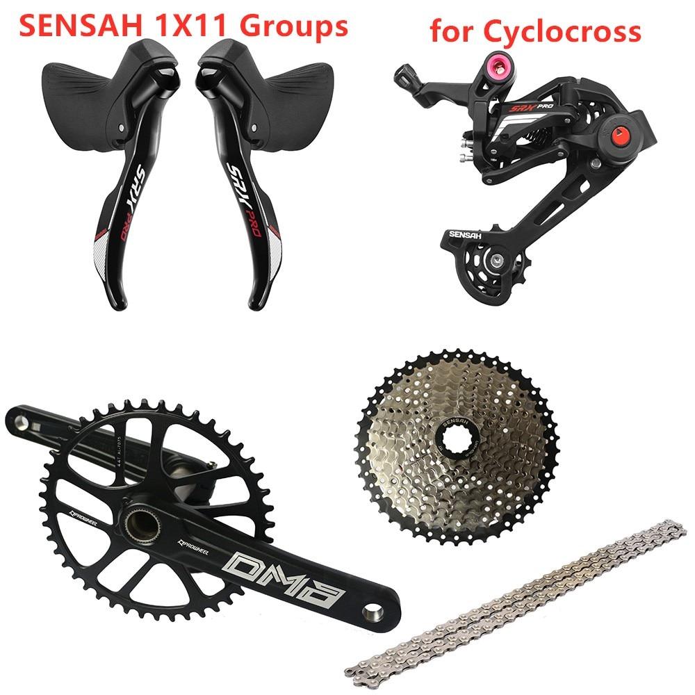 Sensah srx pro 1x11 velocidade, 11s road groupset, r/l shifter + desviadores traseiros + ybn chainset cassete, cascalho-bicicletas ciclo-cross