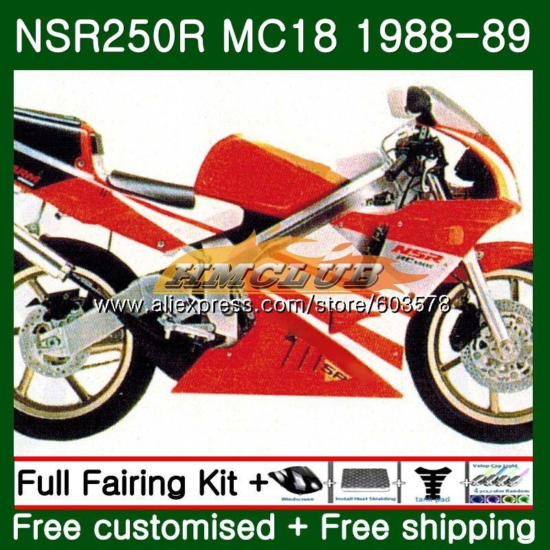 Kit Para HONDA NSR 250 R MC18 PGM2 NSR 250R NS250 100CL NSR250R 1988 1989 Vermelho Brilhante. 66 MC16 NSR250 R RR NSR250RR 88 89 Carenagem