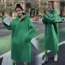 Maternidade usa outono moda nova coreano mais veludo grosso casaco inverno moletom solto grávida vestido com capuz quente f2707