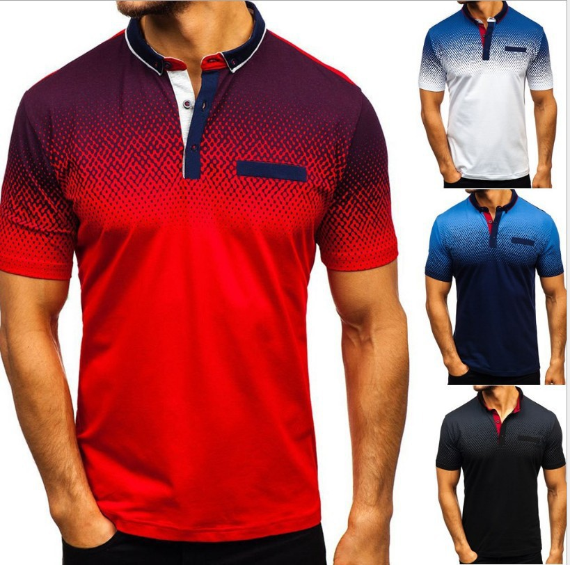 Camiseta con solapa informal de deporte corto de verano para hombre, camiseta Polo para hombre con efecto 3D, blusa de algodón de Lycra, camisa diaria para hombre