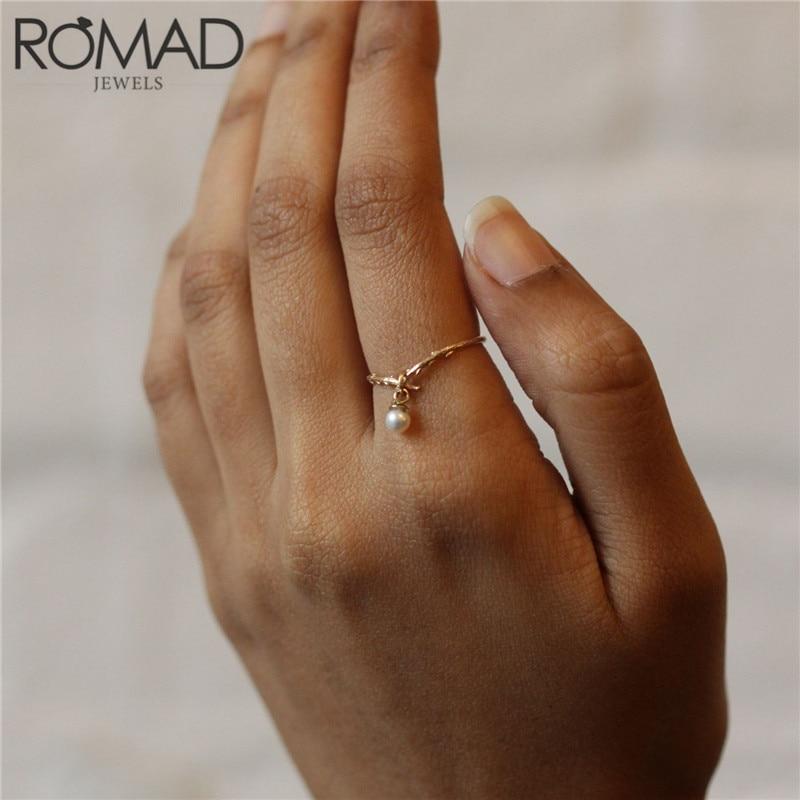 Anillo de rama de árbol Vintage ROMAD anillos de perlas de imitación redondos de oro para mujer joyería de moda de planta anillo de dedo de nudillo banda de boda