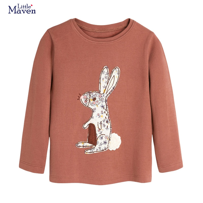 Pouco maven criança meninas camisas de manga longa coelho animal crianças topos t camisas para crianças roupas outono
