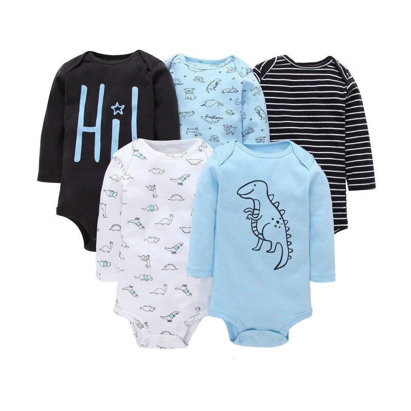 5 unids/lote, mono de invierno de manga larga para bebé recién nacido, mono de algodón para bebé, ropa blanca para bebé, ropa para niña