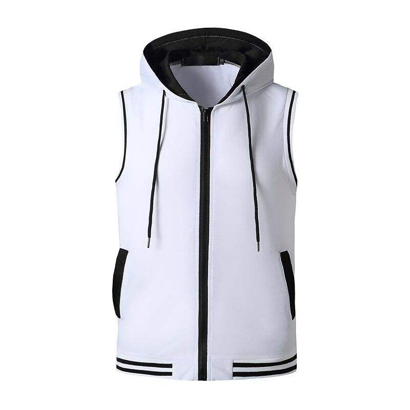 Camiseta blanca con capucha de gran tamaño para Hombre, camisetas sin mangas...
