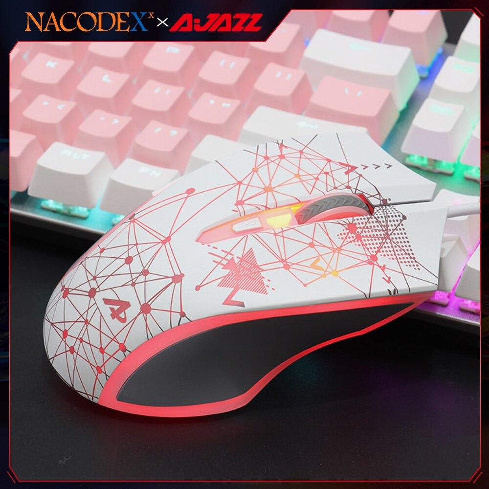 AJAZZ ناكوديكس AJ119 الأبيض E-الرياضة ضوء RGB الكمبيوتر السلكية الألعاب ماوس لاعب الألعاب DPI البصرية ماوس يو اس بي