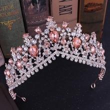 FORSEVEN rouge/bleu/or Rose couleur brillant cristal couronne et diadèmes de Noiva mariée Diadem mariage bijoux de cheveux accessoires