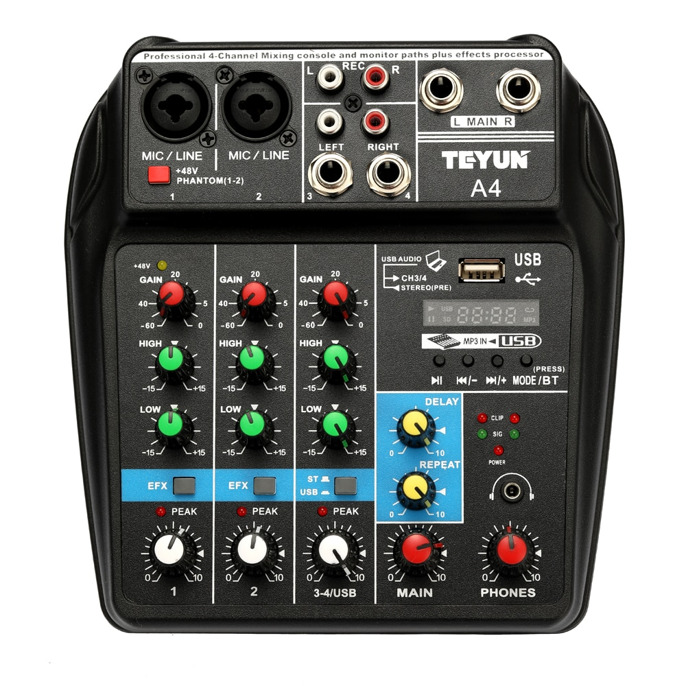 Consola de mezcla de sonido TU04 BT registro 48V Phantom Power Monitor AUX Paths Plus Effects 4 canales mezclador de Audio con mezcla USB