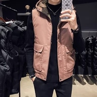 new autumn and winter trend thickened cotton padded jacket with cotton waistcoat for men young mans shoulder jacket waistcoat