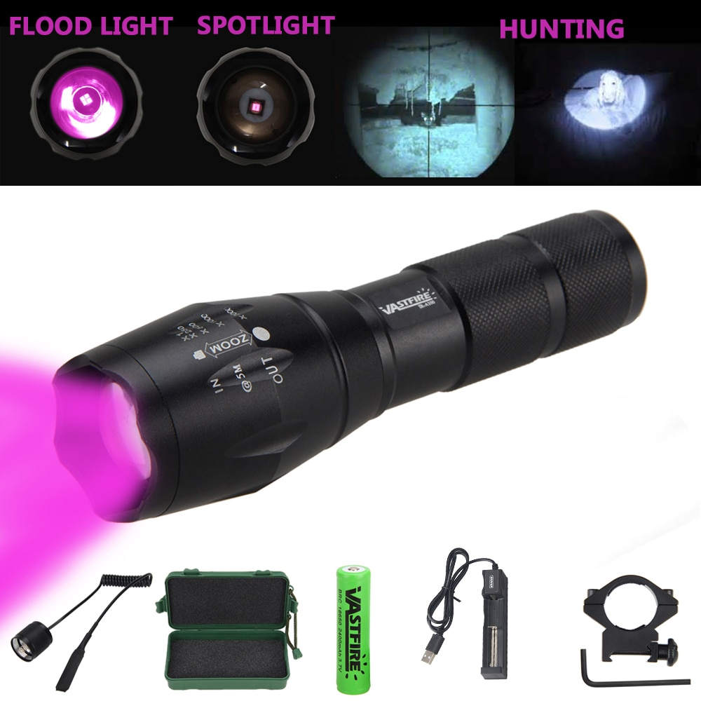 Zoomable Hunting Torch 5W 850nm Infrared Night Vision Flashlight LED Torch with 18650 Battery Set an