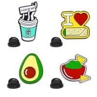fruit enamel pin custom dog popsicle avocado love cup lapel pin cartoon badge jewelry gift for kids friends