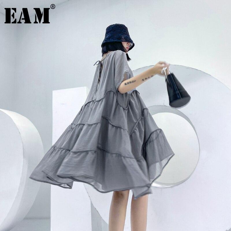[EAM] Women Gray Ruffles Big Size Pleated Dress New Round Neck Short Sleeve Loose Fit Fashion Tide Spring Summer 2020 1U543