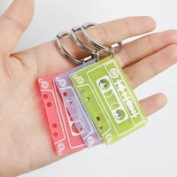 customized audio track key chain acrylic composite recorder tape pendants custom music jewelry personalized key chains gifts