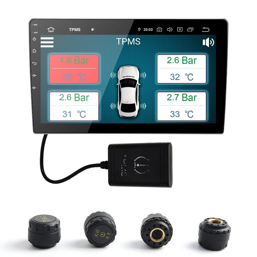 TPMS Sistema de Monitoramento de Pressão Dos Pneus Do Carro Sem Fio Sensores Externos TPMS com 4 apto para Android 7.1 Androi8.0 8.1 9.0 PX5 PX6 PX3