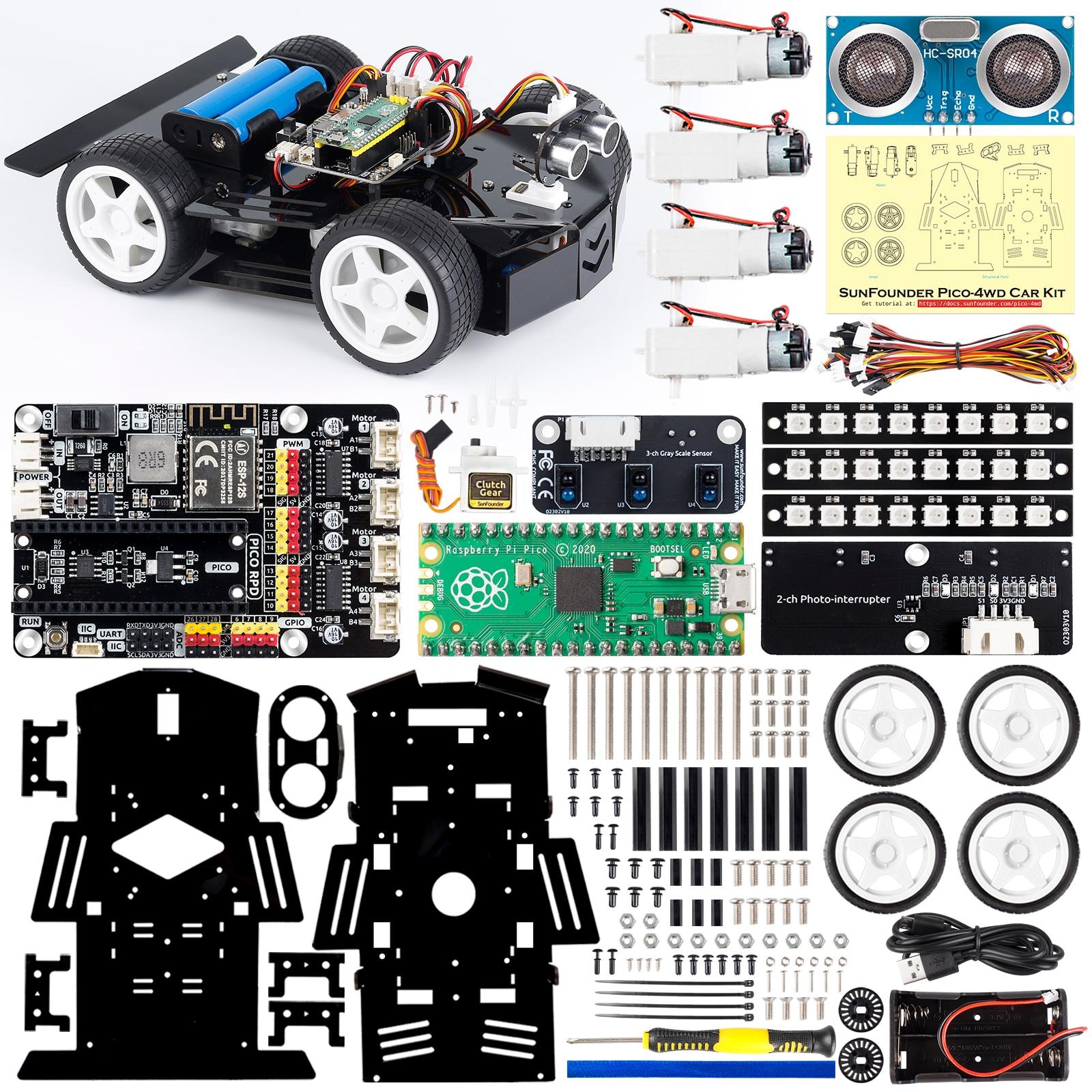 SUNFOUNDER Raspberry Pi Pico Robot Car Kit, Open Source, MicroPython, App Control