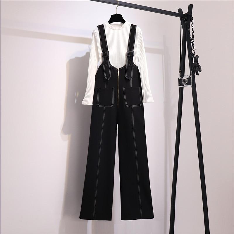2021 ربيع الخريف المرأة طويلة الأكمام متماسكة قاع قميص واسعة الساق الدنيم السراويل بذلة 2 قطعة مجموعات الإناث الدعاوى الموضة