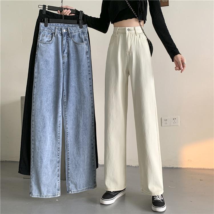 Straight Pants Floor Dragging Wide Leg Pants White Jeans Women's 2021 New Pants Autumn High Waist Sl