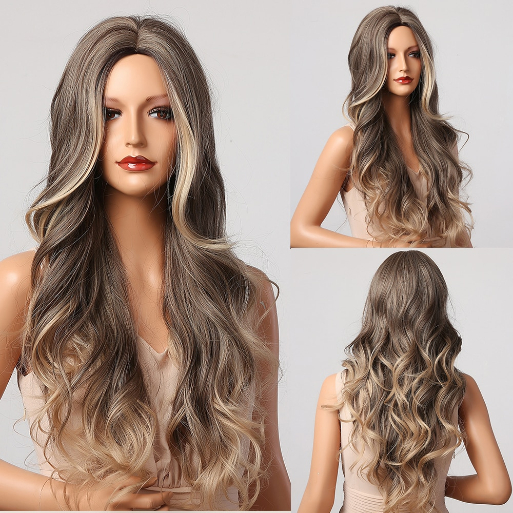AliExpress - HENRY MARGU Long Brown Blonde Ombre Wavy Wigs Synthetic Natural Wigs Middle Part Daily Cosplay Wigs for Women Heat Resistant