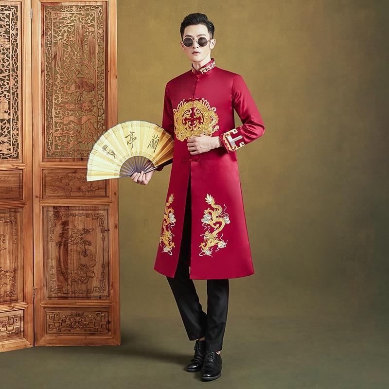 الرجال الملكي الزفاف العريس الكلاسيكية التنين التطريز زي النمط الصيني رداء طويل مرحلة الأداء نخب الملابس