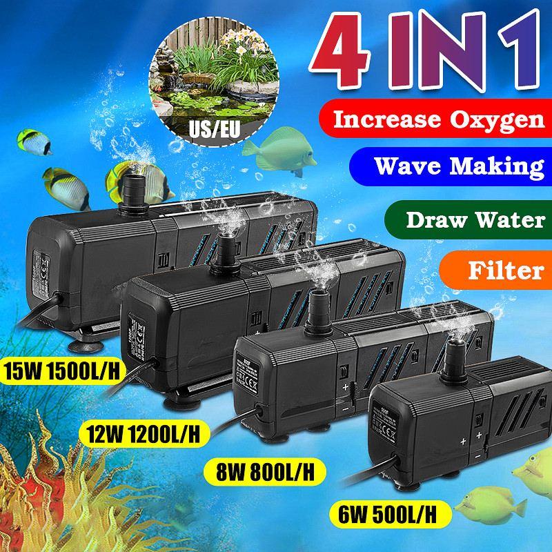Bombas de agua de acuario portátiles 4 en 1 de 6/8/12/15 W, bombas de agua de estanque sumergibles para peces, bombas de agua de baja potencia para piscinas