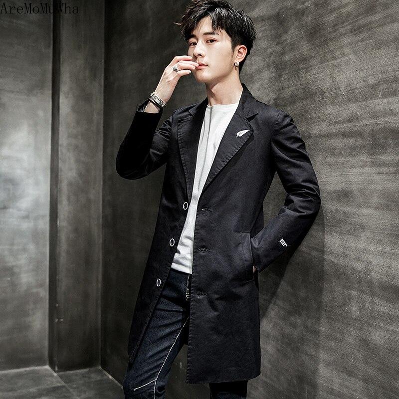 Rompevientos AreMoMuWha para hombre 2019, otoño coreano, Harujuku, moda juvenil, solapa de algodón, abrigo largo medio para hombre, chaqueta de gran tamaño QX874