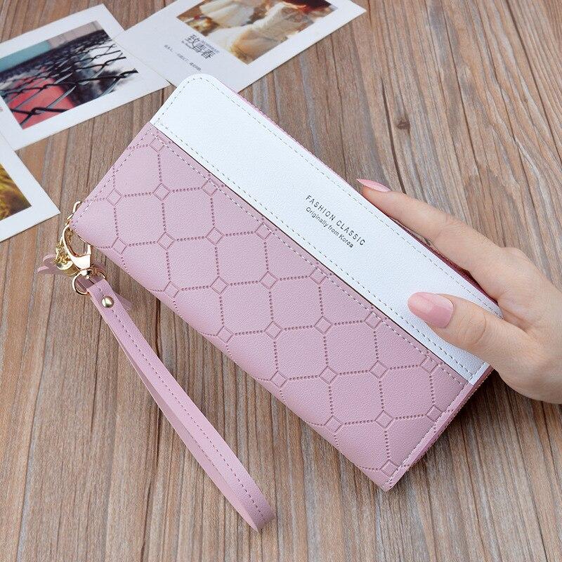 Fashion Long Pu Leather Women Wallet Plaid Tassel Wallets For Woman Wallet Purse Clutch Credit Card