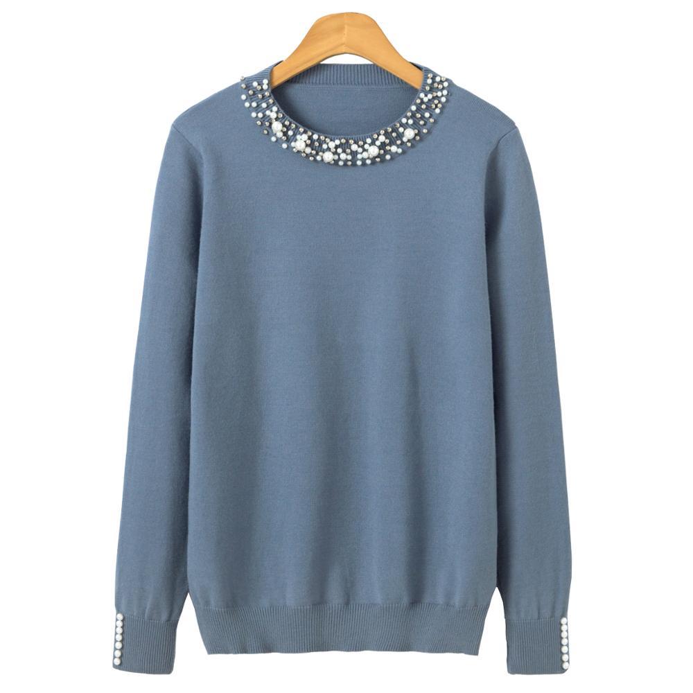 Жемчужный Зимний вязаный свитер для женщин с длинным рукавом свободный элегантный пуловер Женский мягкий теплый осенний Повседневный джемпер
