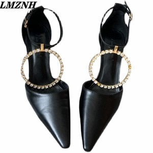 LMZNH 2021 Summer Fashion Woman High Heels Rhinestone Buckle Strap Stiletto Pointed Toe Rome Woman Pumps Casual Designer Shoes