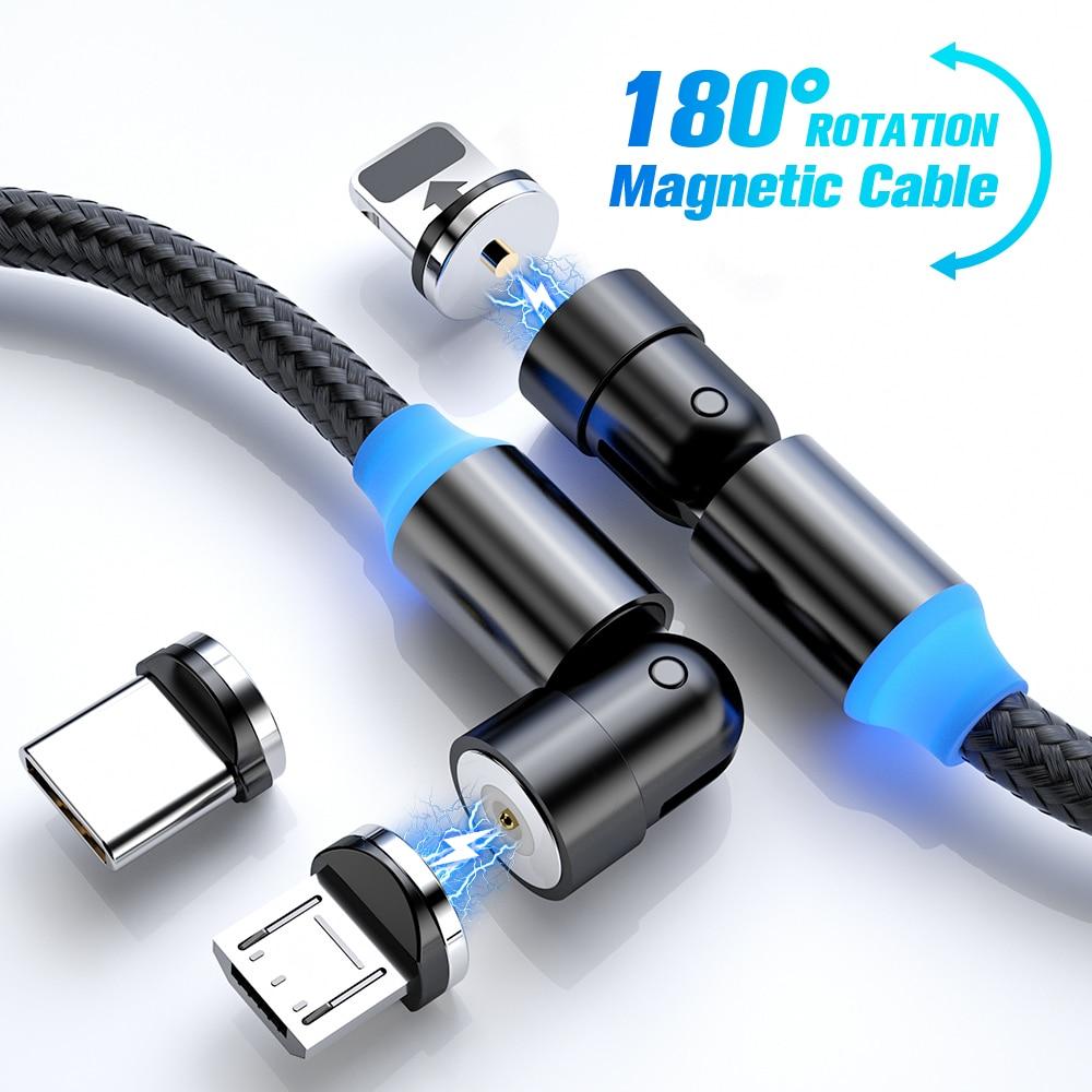 Cable de carga magnética de 540 grados FONKEN, Cable magnético giratorio 180 360, Cable Micro USB, Cable de carga magnético, Cable tipo C