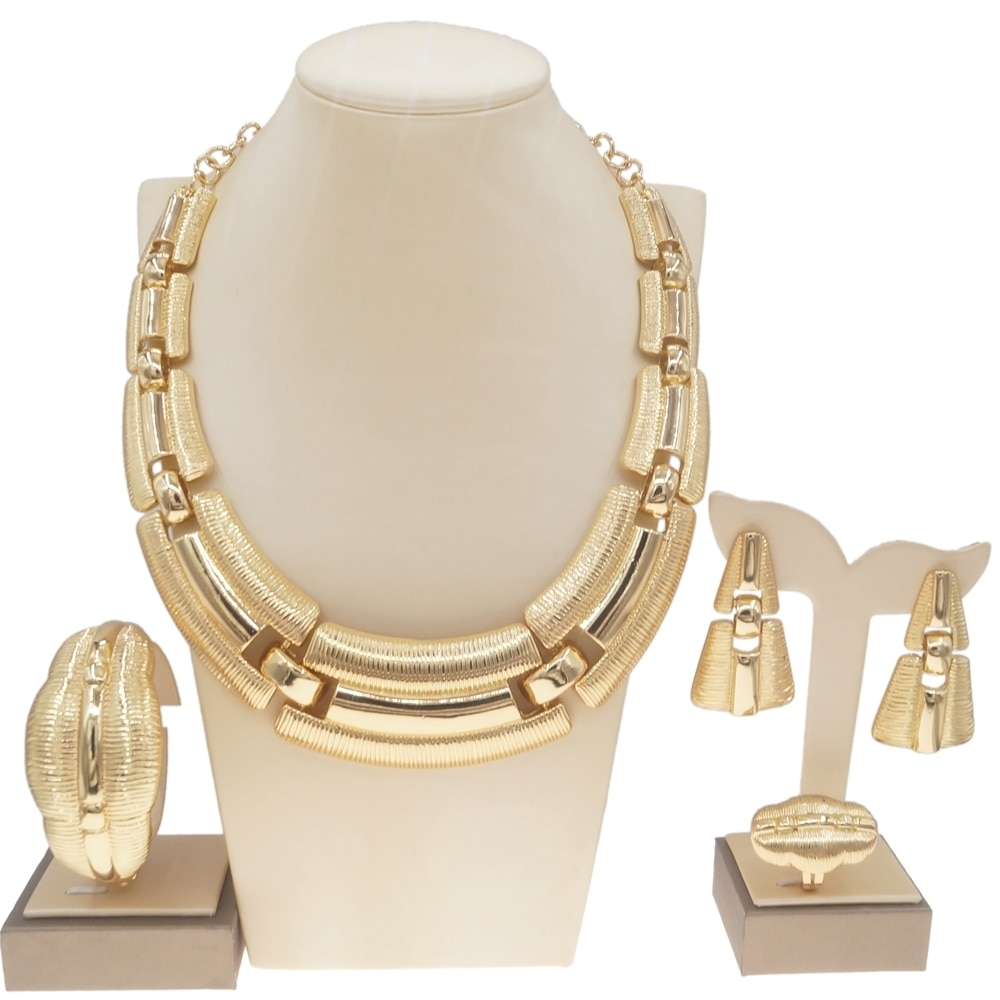 Latest Luxury Italian Gold Jewelry Set Brazilian Gold Wedding Big Jewelry Sets Woman Party Necklace Jewellery Set H0003