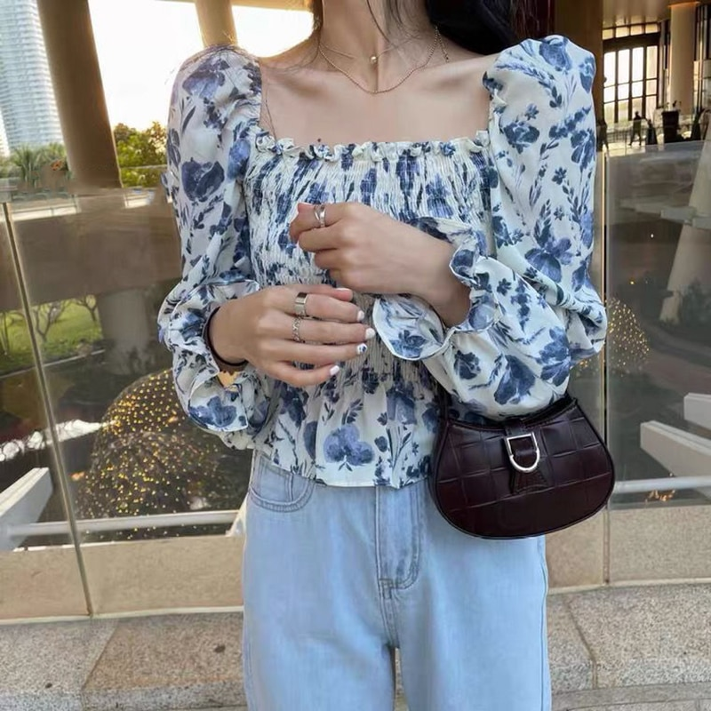 Women Ruffle Floral Top Chiffon Blouse Elegant Puff Sleeve Chiffon Vintage Blouse High Waist Cropped Casual Office White Shirt floral embroidered high low blouse