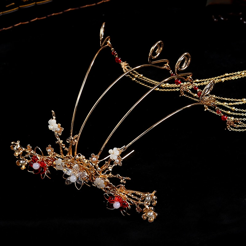 Chinesische kleidung kopfschmuck ball kopf Xiu braut krone der antike Krone Bob schritt schütteln fransen kostüm mit einem set von zubehör