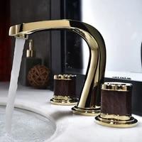 bathroom widespread basin faucets soild brass sink mixer taps hot cold lavatory crane luxury 2 handle 3 hole bathtub faucets